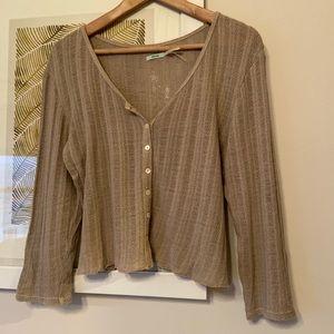 Tan knit boho crop
